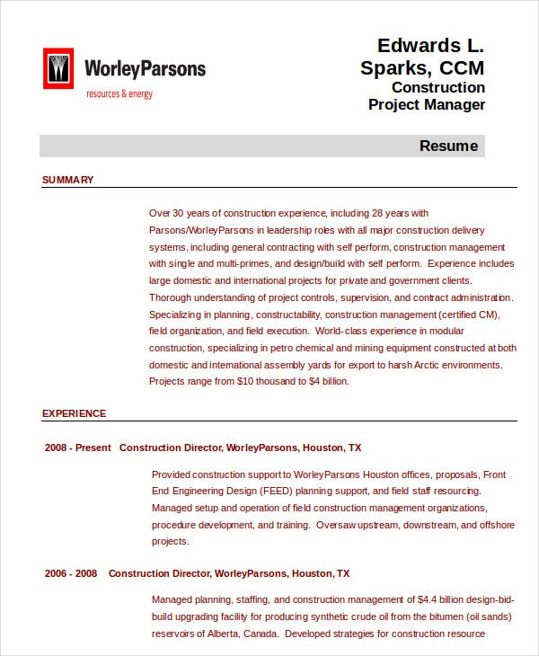 construction project management resume
