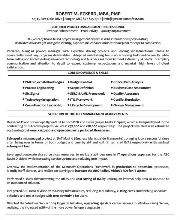 Lovely Certified Project Management Professional Resume Download