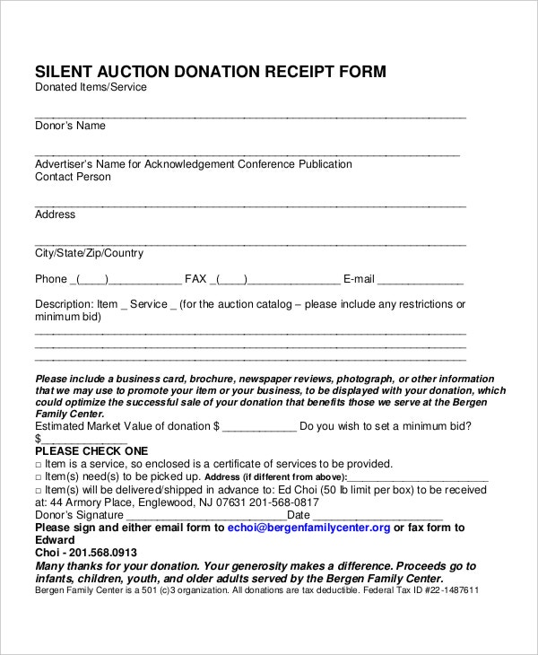 auction donation receipt