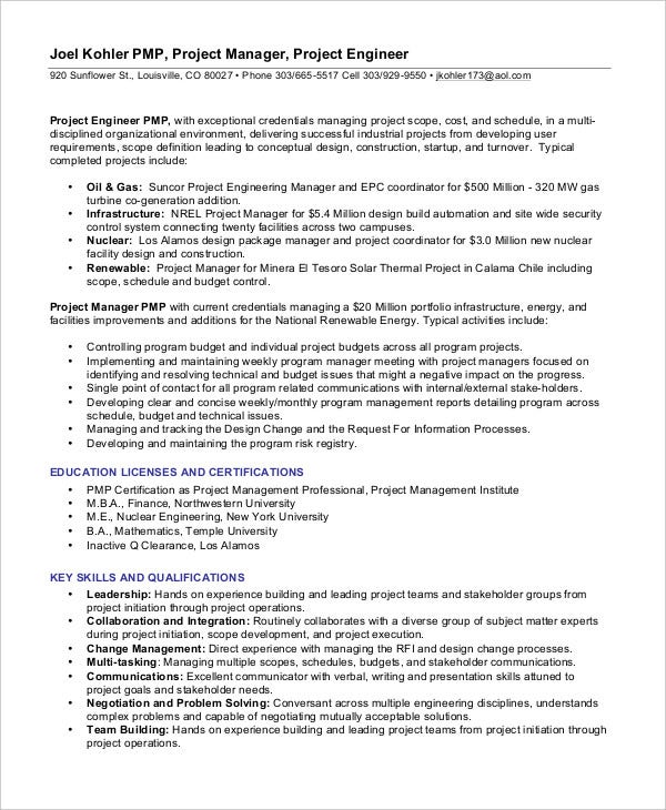Project Manager Resume Pdf. Project Management Sample Resume Alexa