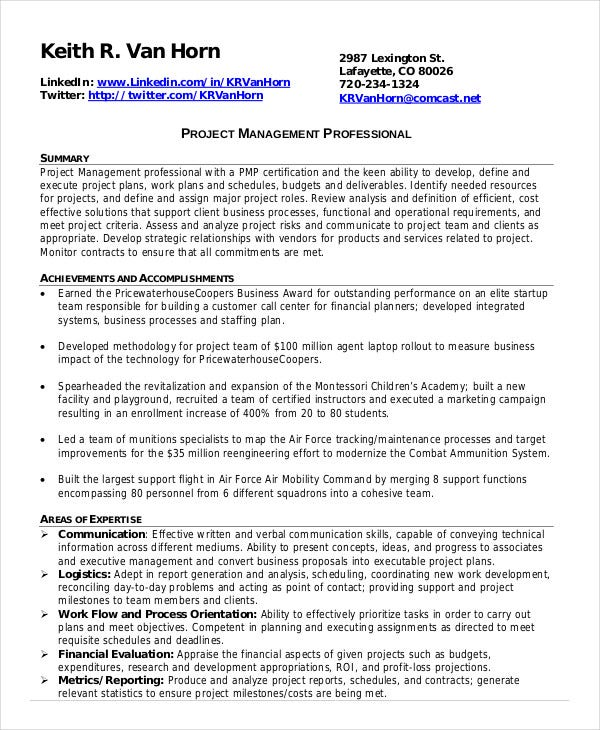 project management resume exle 10 free word pdf