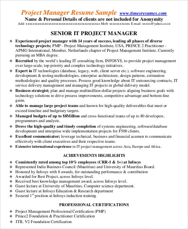 it project management resume template download in pdf