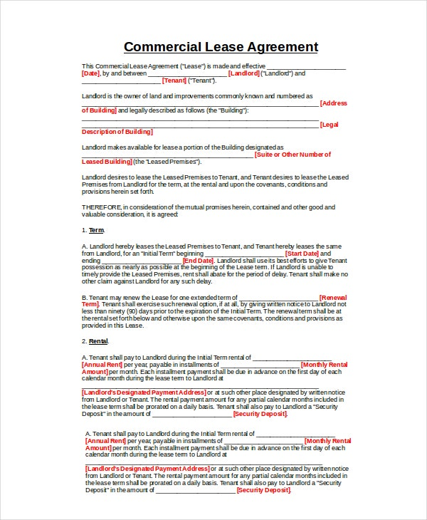 Commercial Property Lease Agreement  Lease Agreement Word Document