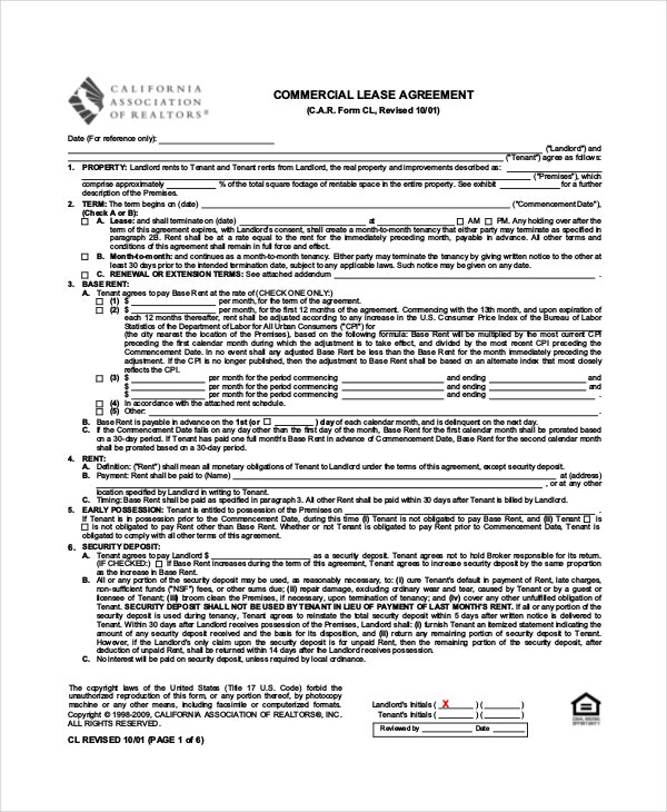 Standard Commercial Lease Agreement
