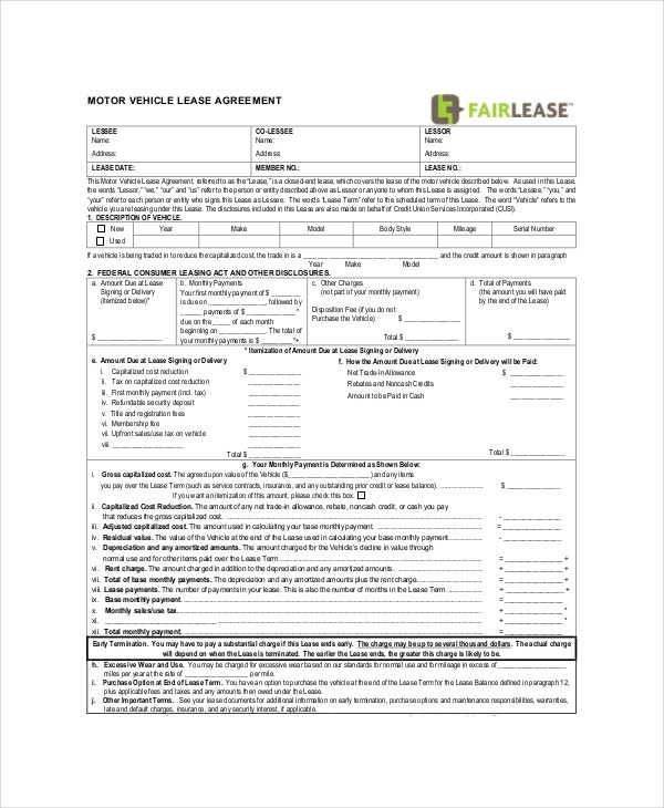 commercial vehicle lease agreement. Resume Example. Resume CV Cover Letter