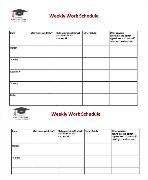 Weekly Schedule Template   Free Word Excel Pdf Documents