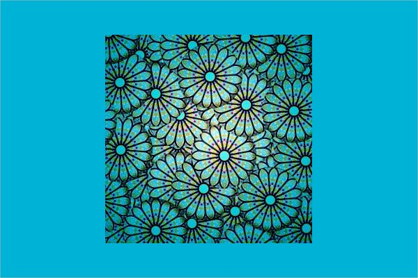 Blue Floral Stained Glass Pattern