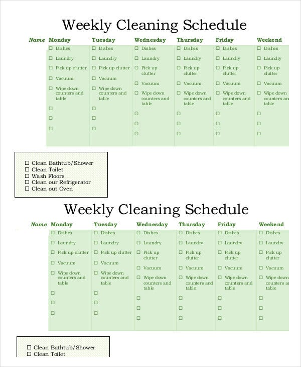 weekly-cleaning-schedule-template