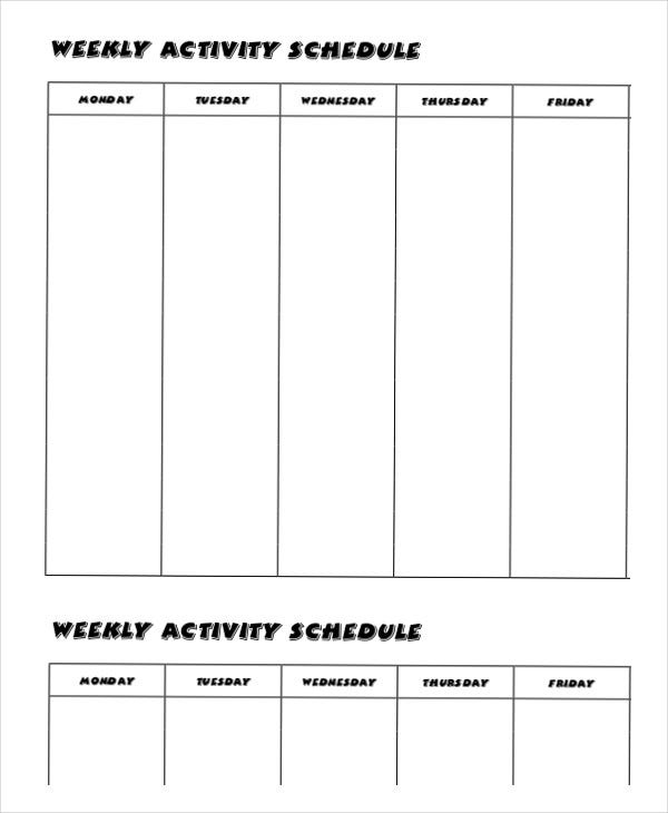Weekly schedule template 10 free word excel pdf for Activity timetable template