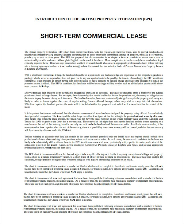 Short Term Commercial Lease Agreement