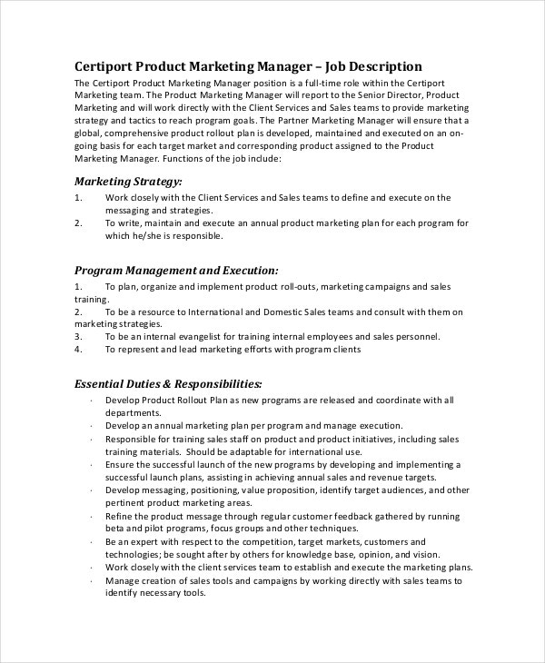 Product Marketing Manager Job Description Sample