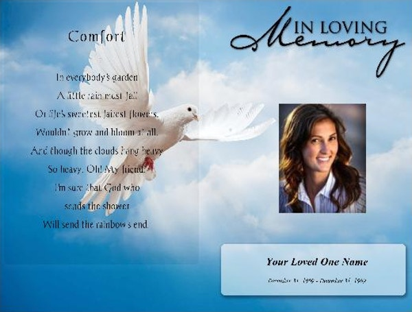 Funeral Obituary Programs Template  Free Printable Obituary Program Template