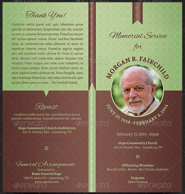 Bi Fold Funeral Program Template  Memorial Pamphlet Template Free