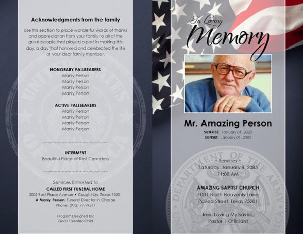 Military Funeral Program Template  Memorial Pamphlet Template Free
