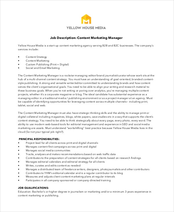 Content Marketing Manager Job Description Free Download