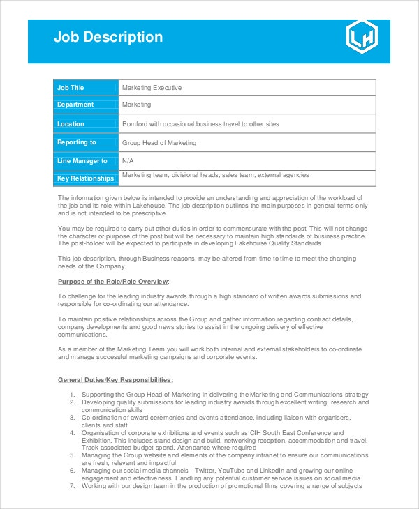 Marketing Job Descriptions  Free Sample Example Format
