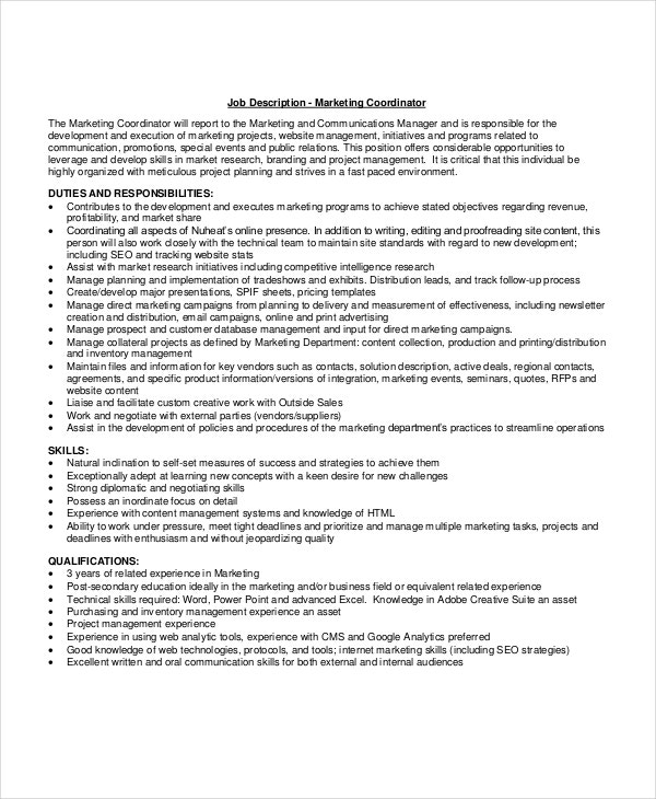10 Project Coordinator Job Description Templates Free Sample