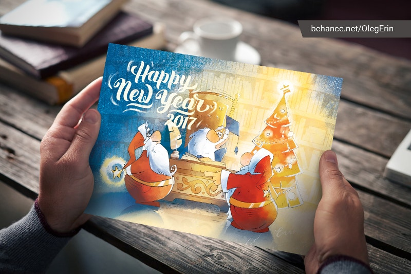 New Year Christmas Postcard Illustration