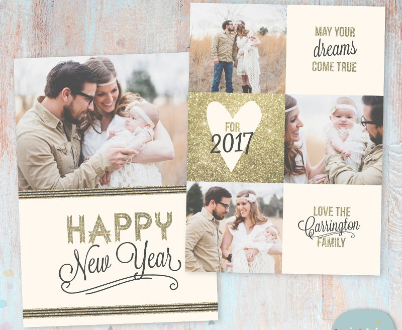 new year card 2017 photoshop template