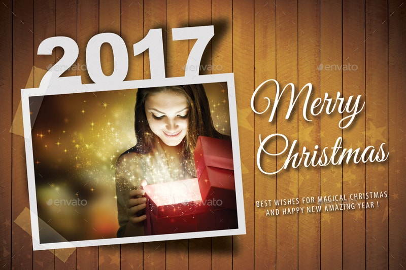 Merry Christmas and New Year Postcard