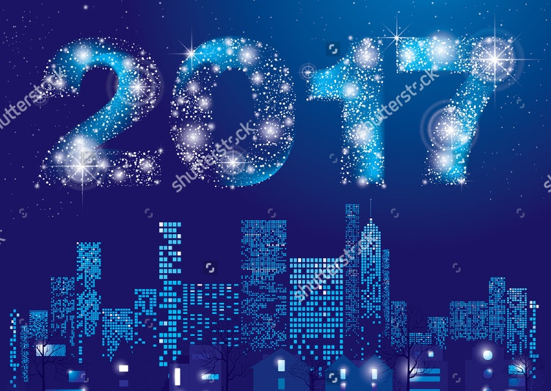 Happy New Year 2017 Card with City Lights