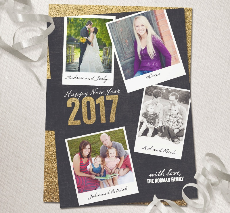 2017 Glitter New Year Photo Card