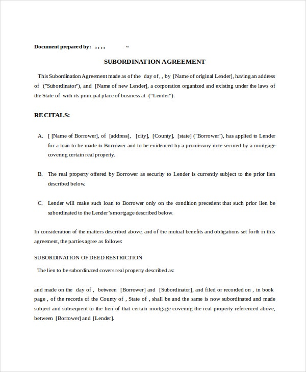 Attractive Mortgage Subordination Agreement Sample