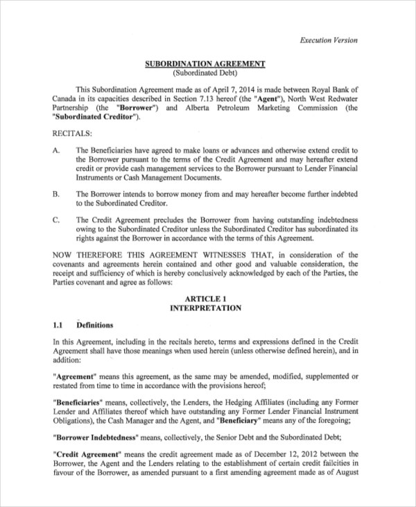 9 Subordination Agreements Free Sample Example Format