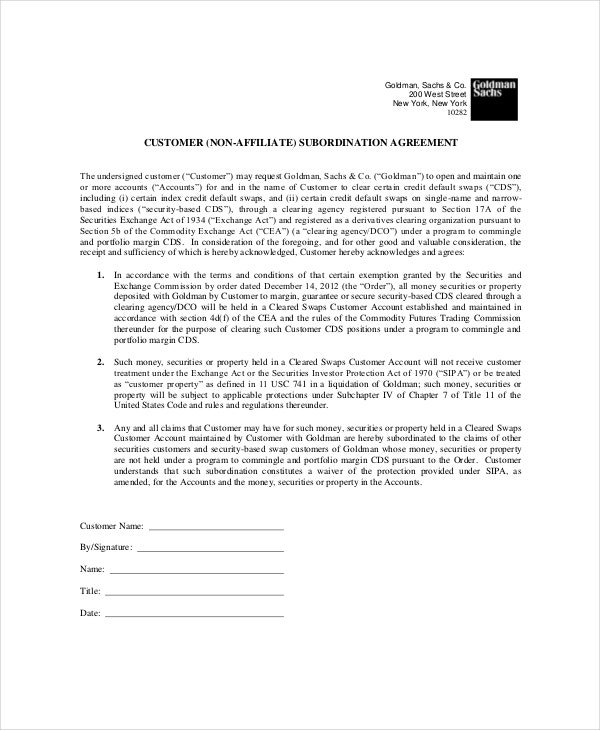 non-affiliate-subordination-agreement