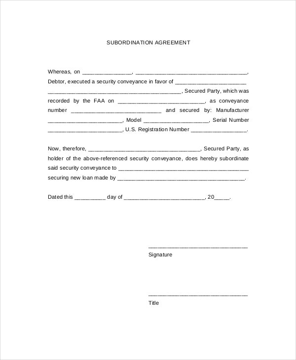 Subordination Agreements  Free Sample Example Format  Free