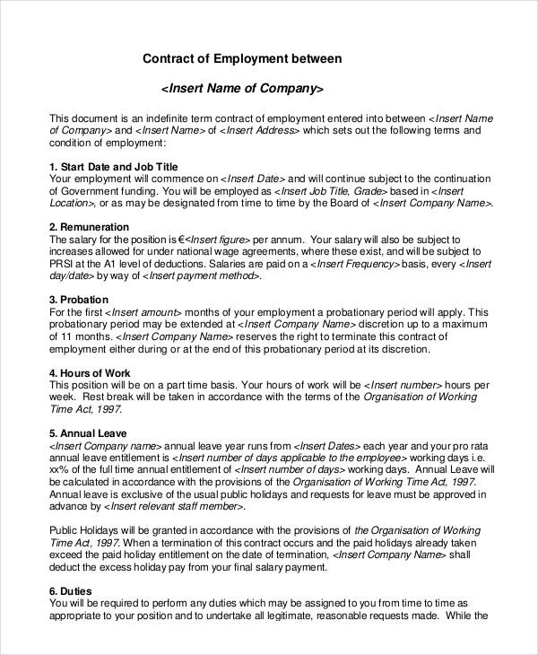 Employment contract template 15 free sample example for Terms of employment contract template
