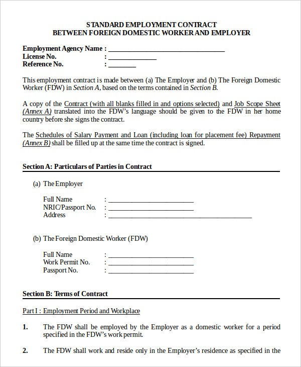 Employment Contract Template 9 Free Sample Example Format – Job Contract Template