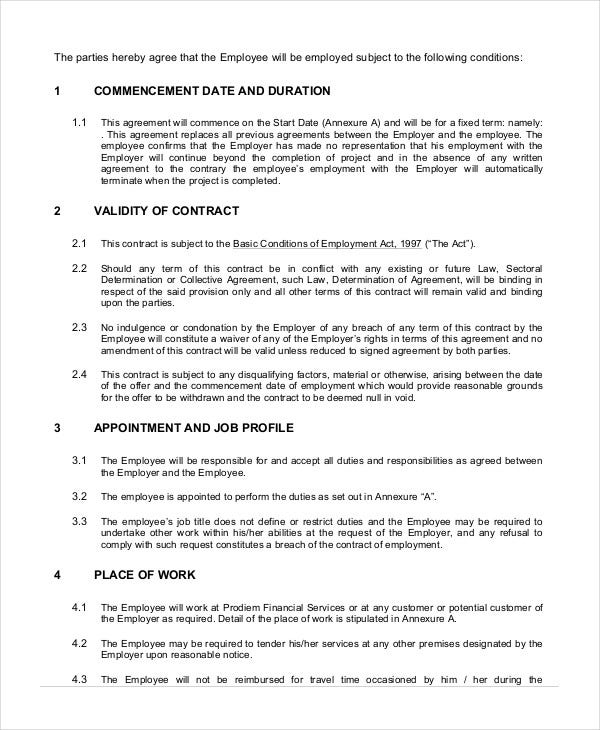 Labour Contract Template Employment Contract Sample Employment