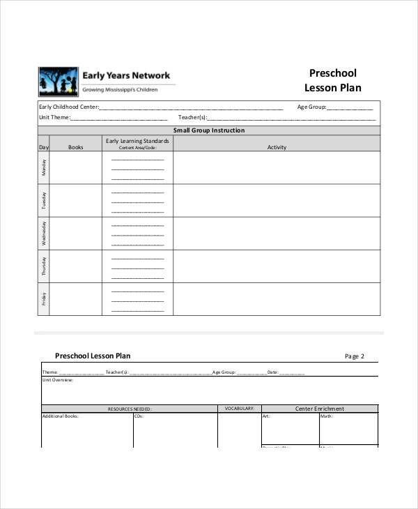 preschool children lesson plan template download
