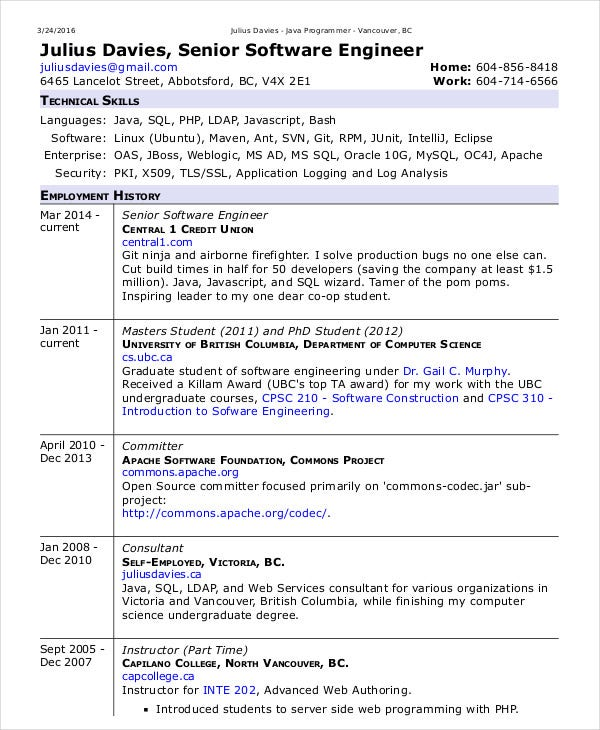 Software Examples For Resume Senior Software Engineer Resume Sample
