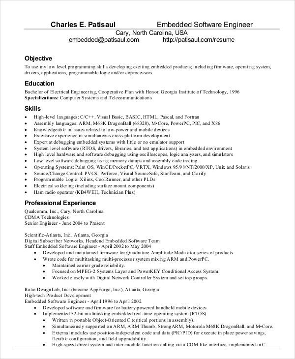 embedded software engineer resume template download - Software Developer Resume