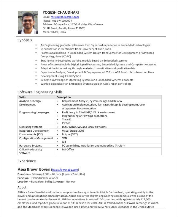 Software engineer resume example 10 free word pdf for Sample resume for software engineer with 1 year experience