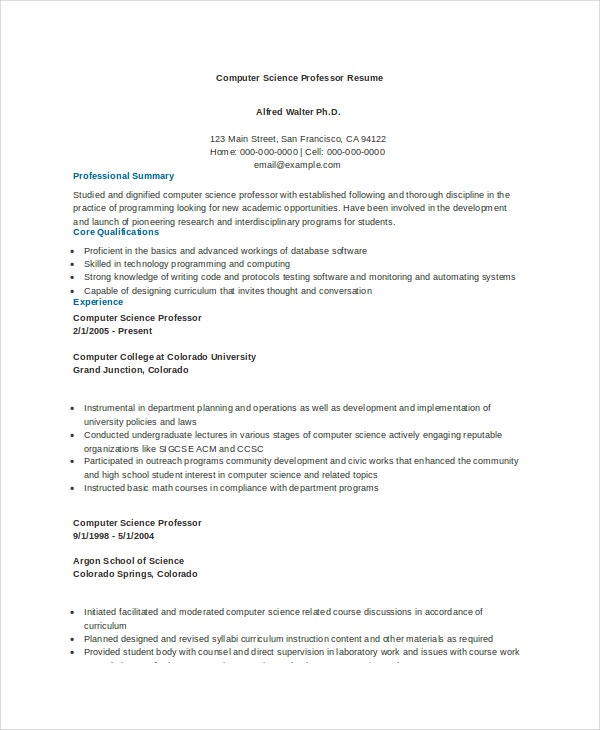 computer science professor resume example - Computer Science Resume Sample