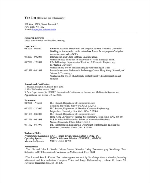 computer science internship resume format - Science Student Resume Skills