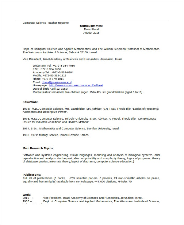 computer science teacher resume template - Resume Computer Science Teacher