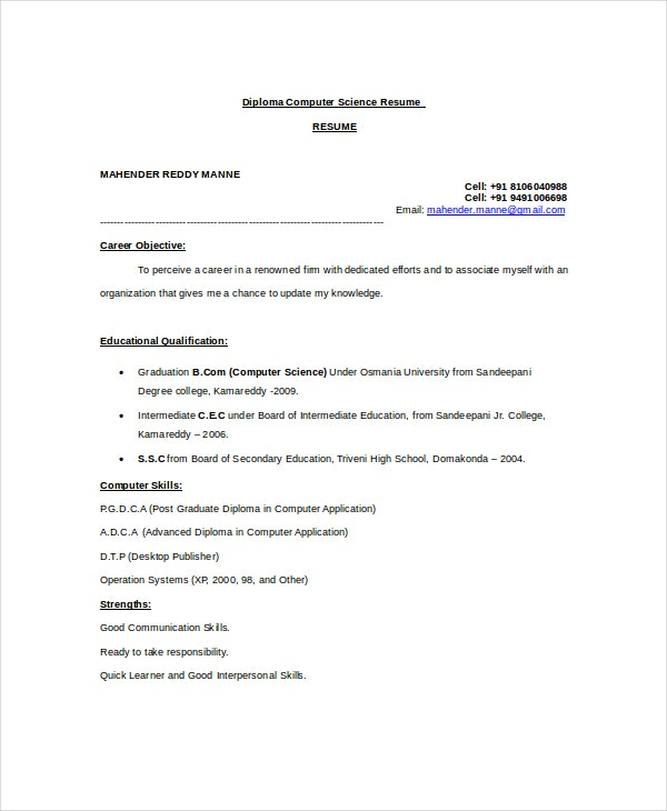 diploma computer science resume template download - Computer Science Resume Tips