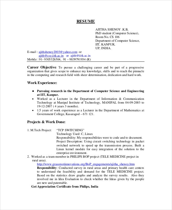 phd student computer science resume - Sample Resume Phd Candidate