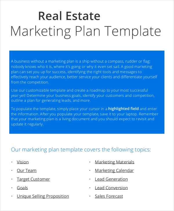 20 marketing plan templates free premium templates for Commercial real estate marketing plan template