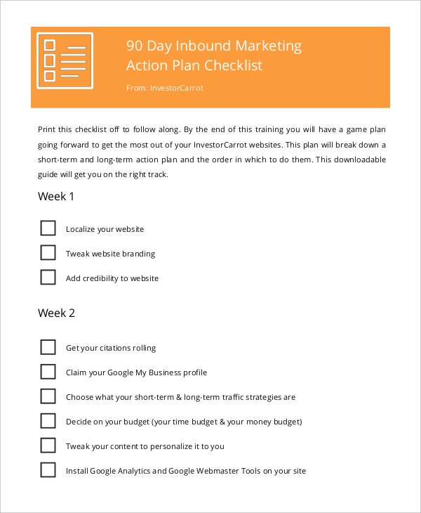 inbound marketing action plan checklist