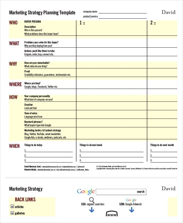 Marketing strategy template 11 free sample example for Advertising media plan template