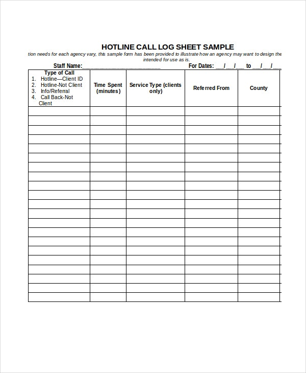 call log sheet template 11 free word pdf excel documents download free premium templates. Black Bedroom Furniture Sets. Home Design Ideas