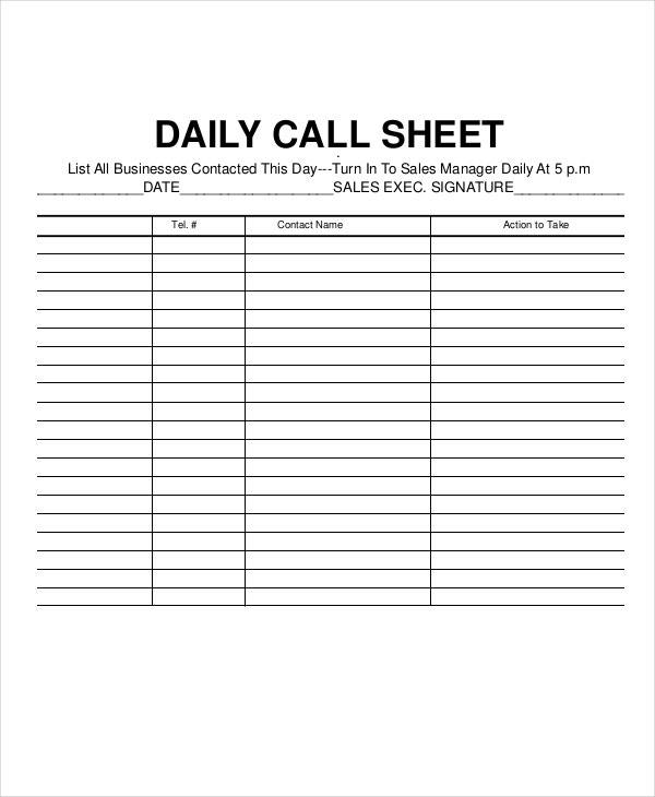 Call Log Sheet Template   Free Word Pdf Excel Documents
