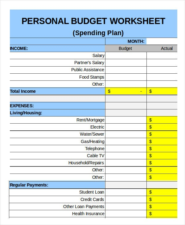 Spending Plan Template Free Printable Monthly Budget Free Monthly
