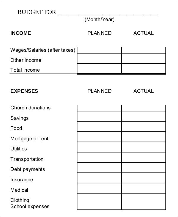 family budget worksheet template in pdf