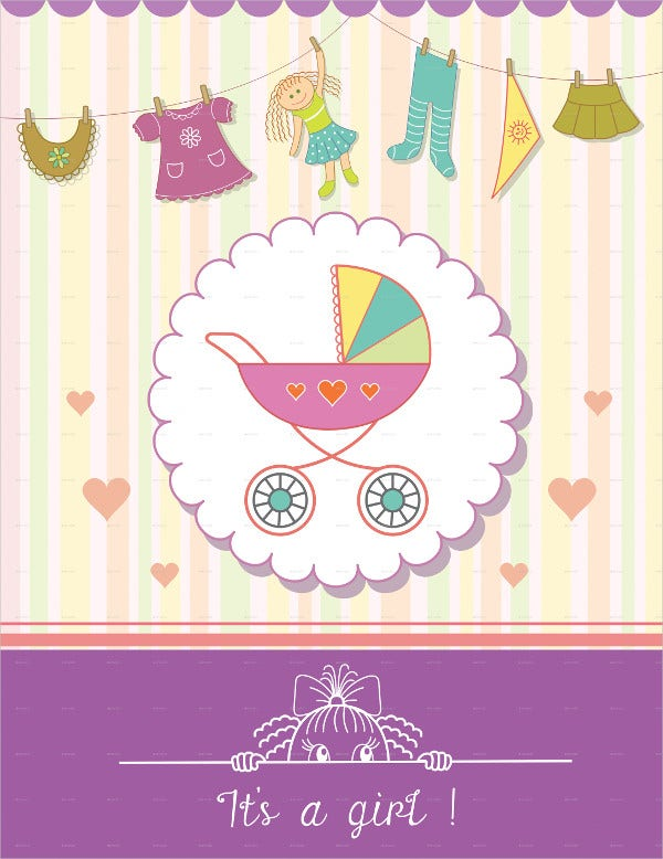 Baby Girl Shower Invitation Card